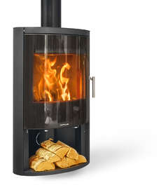 Opus Harmony GLS stove with a glass door and logstore.
