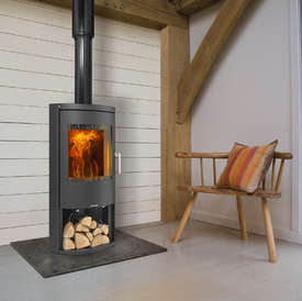 Opus Harmony LS Stove with a glass door and logstore