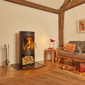 Opus Melody LS wood burning stove with log store